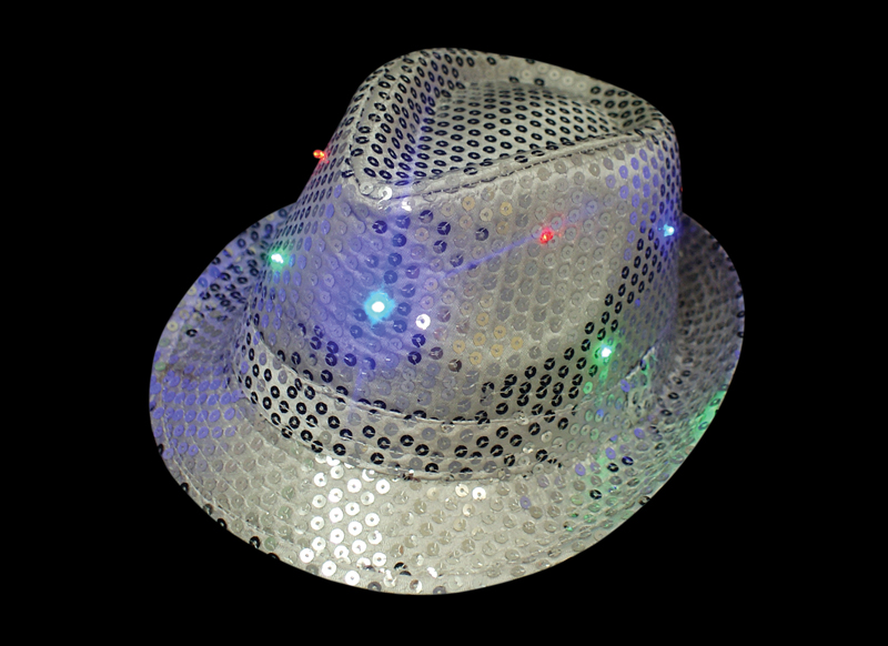 silver trilby hat - flashing led