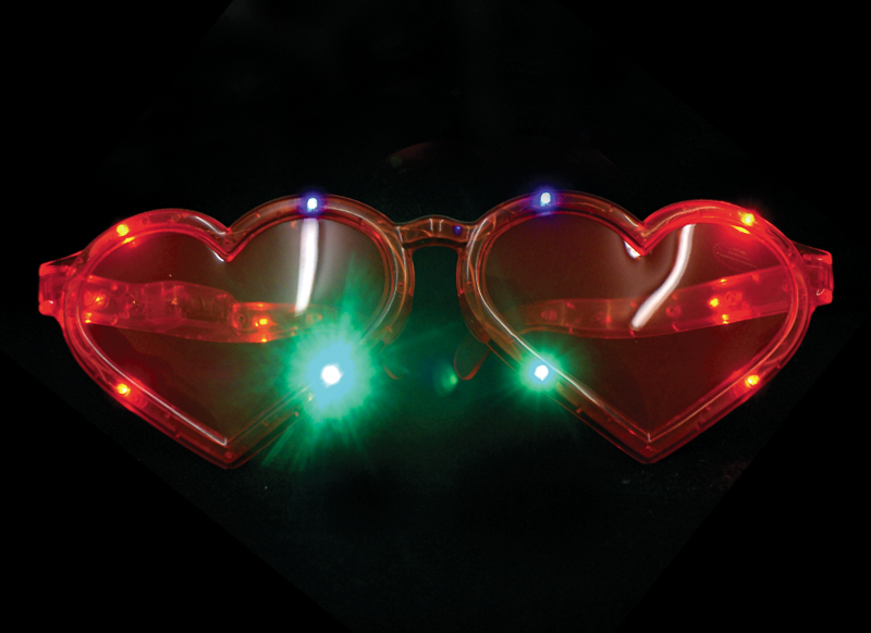 jumbo heart light-up led glasses - giant sunglasses heartshaped