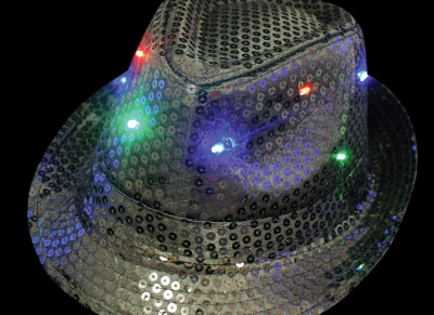 light up trilby hat - michael jackson style - black
