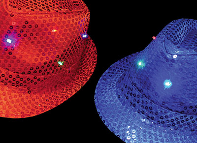 red and blue trilby fedora hats flashing lights